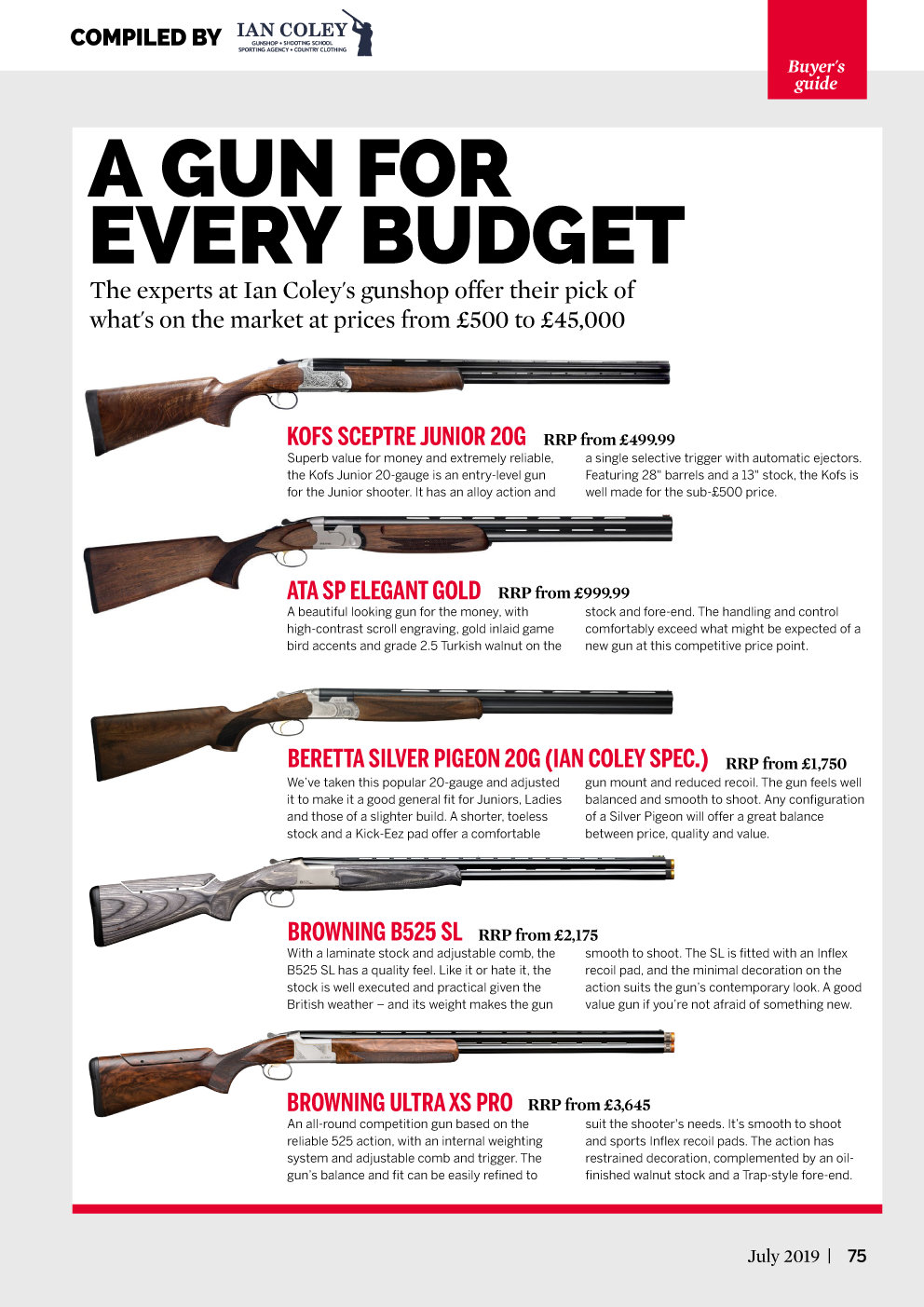Clay Shooting - Buyer's Guide - A Gun for Every Budget - July 2019